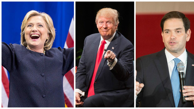 Clinton, Trump y Rubio
