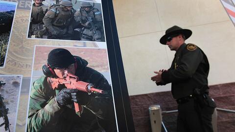 Imagen de un homenaje realizado por la Patrulla Fronteriza al agente Bri...