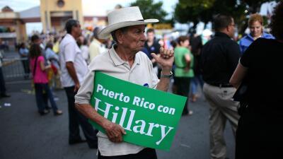 Seguidor de Clinton en San Juan, Puerto Rico, durante las primarias de 2008