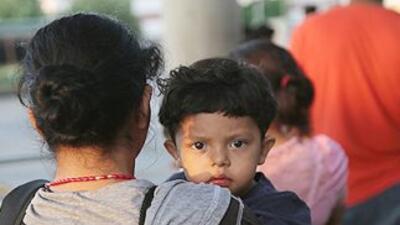 Inmigrantes salvadoreños en McAllen, Texas.