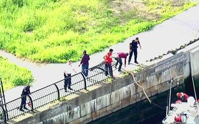 Autoridades rescatan a un hombre que cayó en aguas del East River mientr...