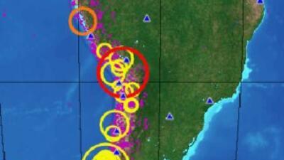 La imagen de la USGS muestra la zona del terremoto que sacudió tres regi...