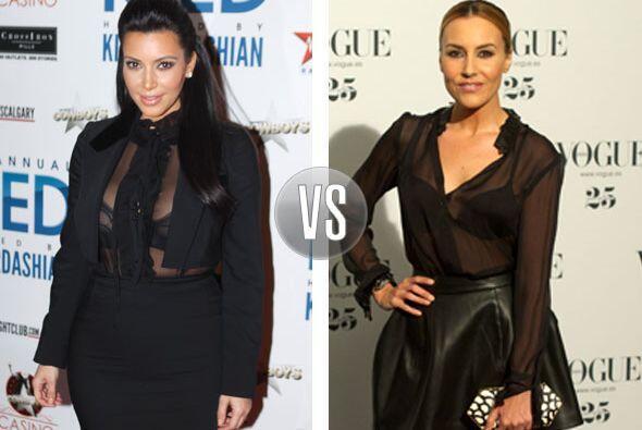 Aunque Kim Kardashian traiga puesto un saco sobre su transparente blusa...