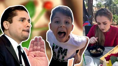 Larry Hernández no se atrevió a probar un chile piquín, pero su novia e hijo no se rajaron y le dieron una lección