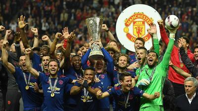 La alegría del Manchester United, campeón de la Europa League