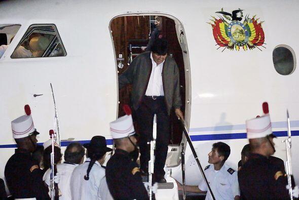 El arribo del presidente boliviano Evo Morales a la ciudad de Panamá.