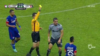 Tarjeta amarilla. El árbitro amonesta a Raúl Rivero de Atlas