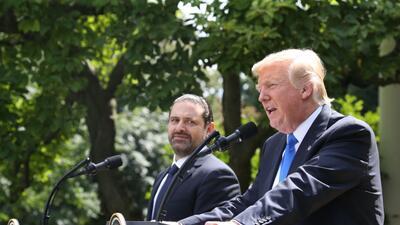 Donald Trump en la conferencia de prensa junto al primer ministro libanés.