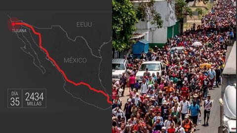 Más de un mes tardó un grupo de cientos de migrantes centr...
