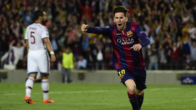 Messi celebra ante el Bayern