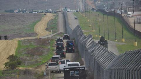 The presidential caravan during Donald Trump's recent visit to the U.S.-...