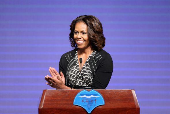 Michelle Obama, la primera dama de EEUU, pronuncia un discurso en una pr...