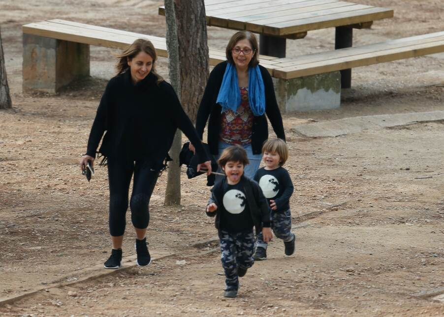 Milan and Sasha Pique out with their grandmother in the Collserola Mount...