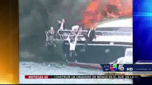 Captado en Video: Barco en llamas en Turquía