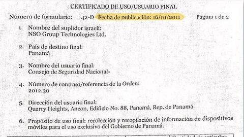 Certificado de Usuario Final, firmado por el gobierno de Panamá p...