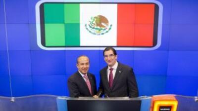 El presidente mexicano Felipe Calderon abrió la sesión en el mercado Nas...