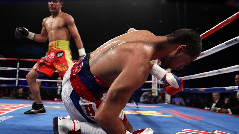 Ali va a la lona ante los golpes de Jessie Vargas