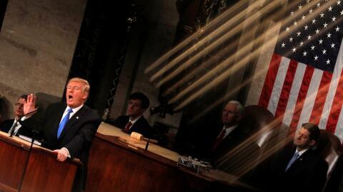 Donald Trump durante su discurso en el Congreso