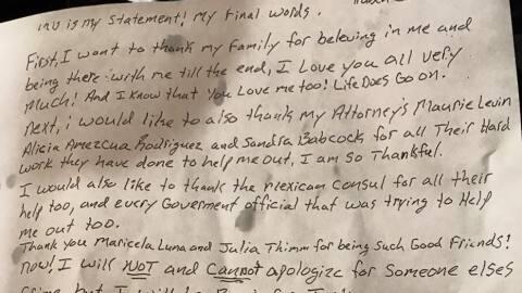Imagen de la carta de Rubén Ramírez Cárdenas antes...