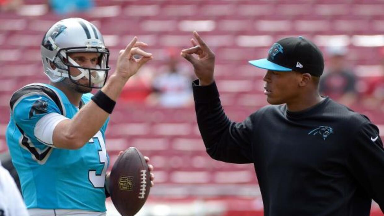 Derek Anderson y Cam Newton (AP-NFL).