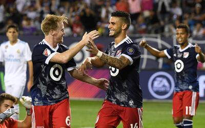 Dax McCarty, Dom Dwyer y Gio dos Santos, durante el All-Star Game de 2017.