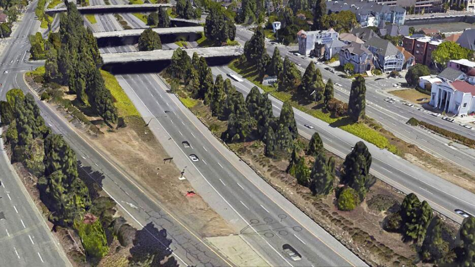 La Interestatal 980 en Oakland, California. Si se remueve, el centro de...