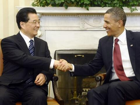 El presidente Barack Obama recibió a su colega chino Hu Jintao en...