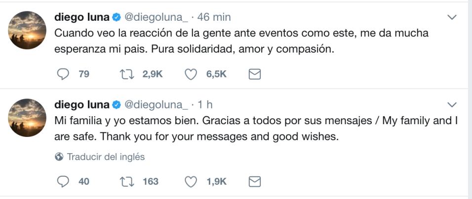 El actor Diego Luna aplaudió a su pueblo al tiempo de que se aseg...