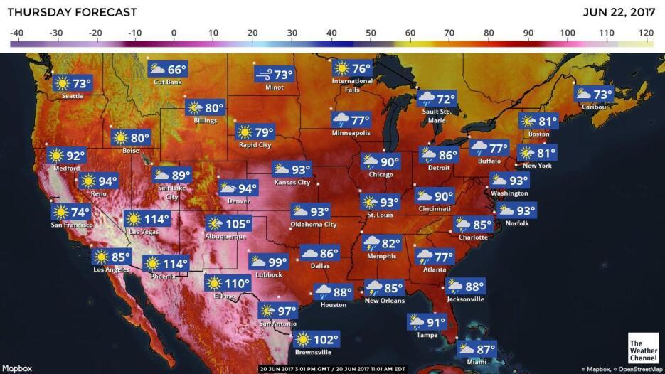 Previsiones meteorológicas para esta semana en EEUU
