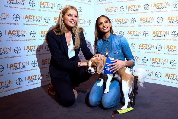 Tess Daly y Alesha Dixon posaron para la campaña 'Be Lungworm Aware', qu...