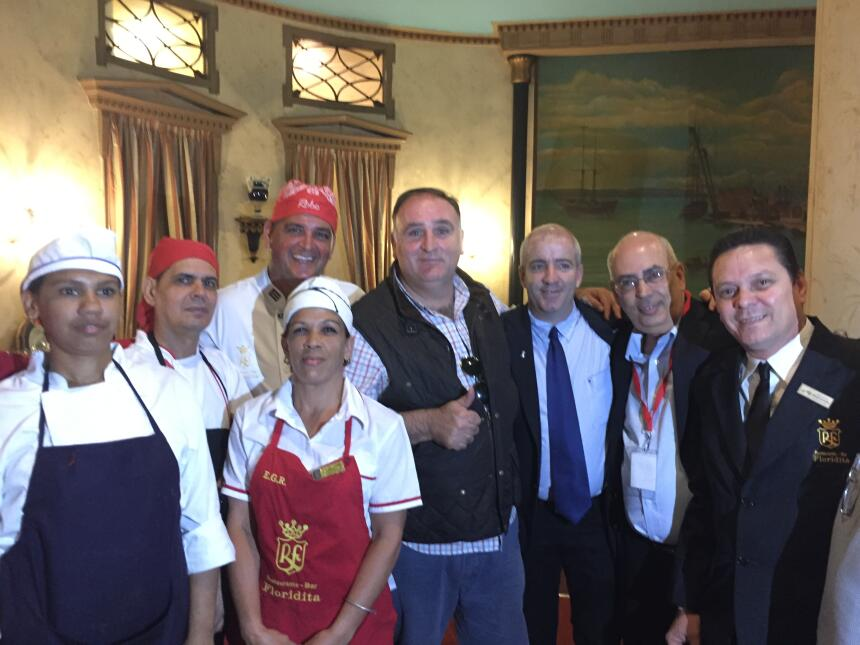 Chef Jose Andres with staff at La Floridita state restaurant in Havana