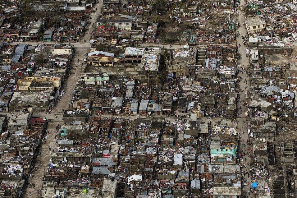 An aerial view of Jeremie taken from the helicopter on a recce fight on...