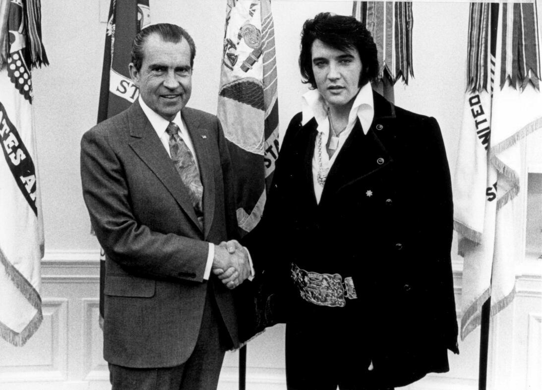 President Richard Nixon meets with Elvis Presley December 21, 1970 at th...