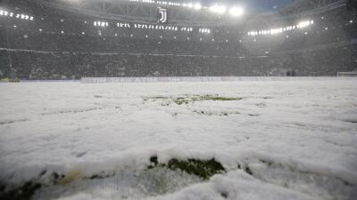 Impresionante nevada en el Juventus Stadium.