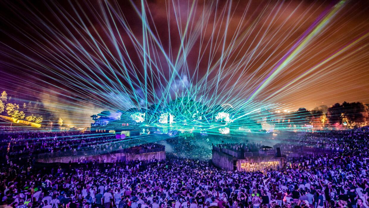 A massive crowd gathers during the first day of the 'Tomorrowland' music...