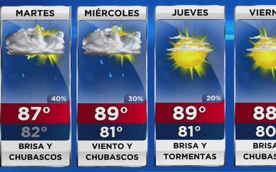Cielo nublado, brisa y chubascos para este martes en Miami