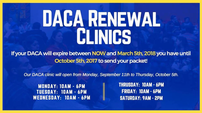 Clínicas para renovar DACA promovidas por organizaciones no lucrativas.