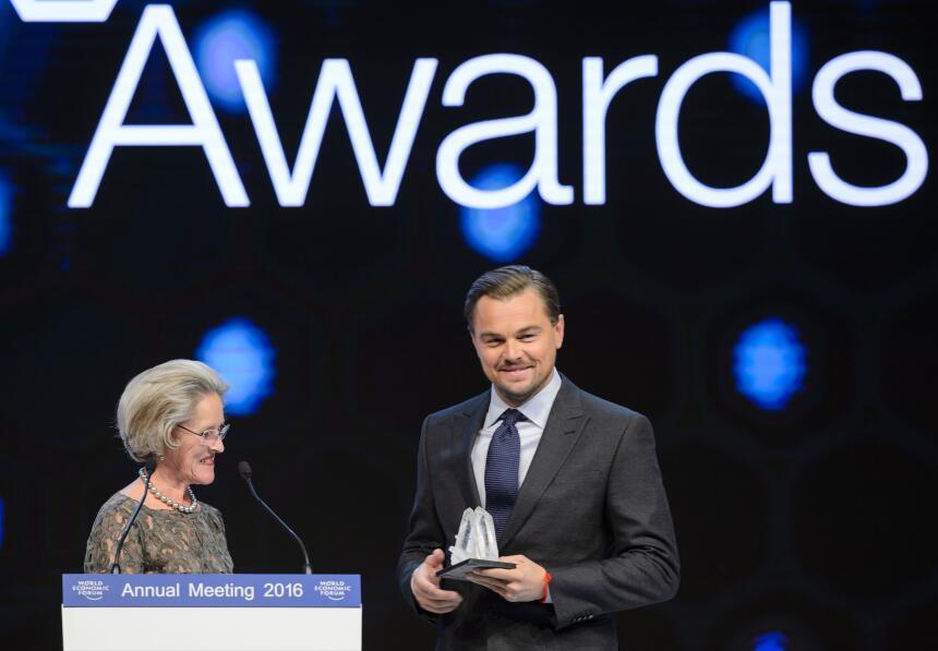 Leonardo DiCaprio durante los premios World Economic Forum's Crystal, en...