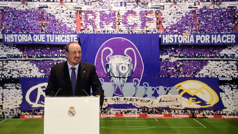 Rafa Benítez en su presentación en el Real Madrid.