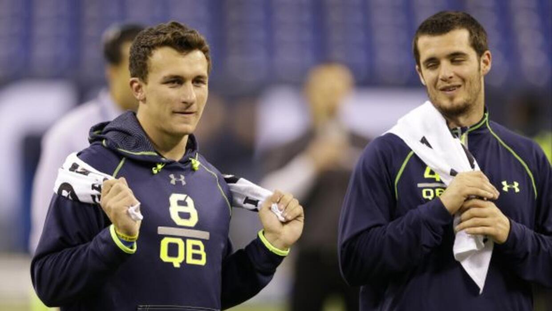 Manziel y Carr durante el Scouting Combine en Indianapolis (AP-NFL).