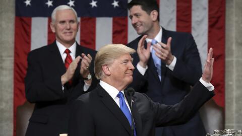 El presidente Donald Trump durante su primer discurso del Estado de la U...