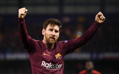 Messi celebra el gol que empató el encuentro en Stamford Bridge.