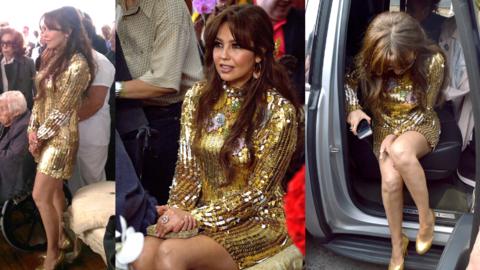 El vestido dorado que Thalía lució en la fiesta de cumplea...