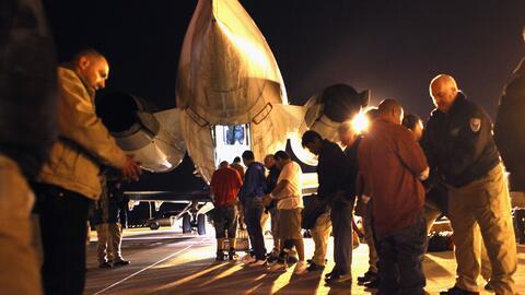Imagen de archivo de un grupo de salvadoreños siendo deportados d...