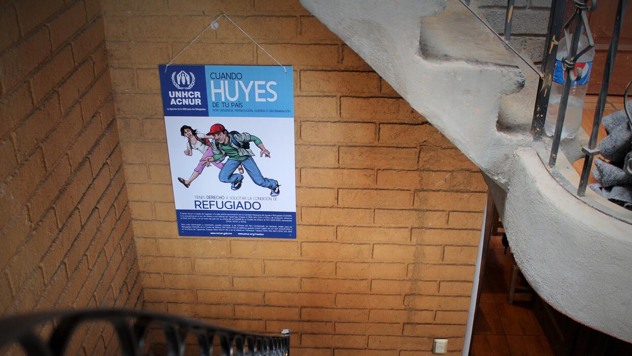 A poster at the Ceporiac shelter in Oaxaca informs residents of their ri...