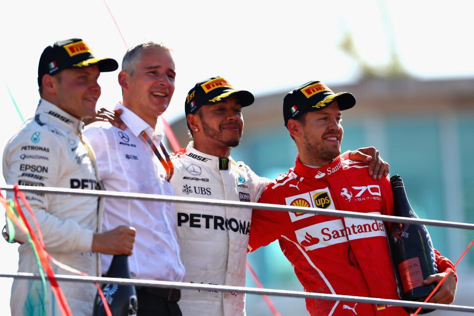 Hamilton gana en Monza y es nuevo líder, Vettel fue tercero Podio 1.jpg