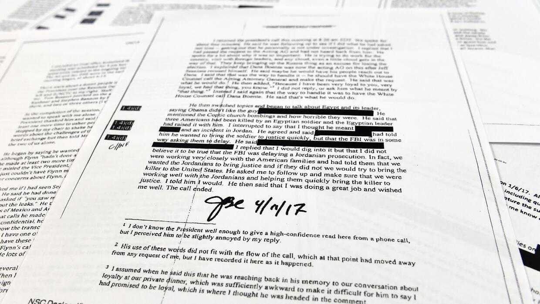 Copias de los memos escritos por el exdirector del FBI.