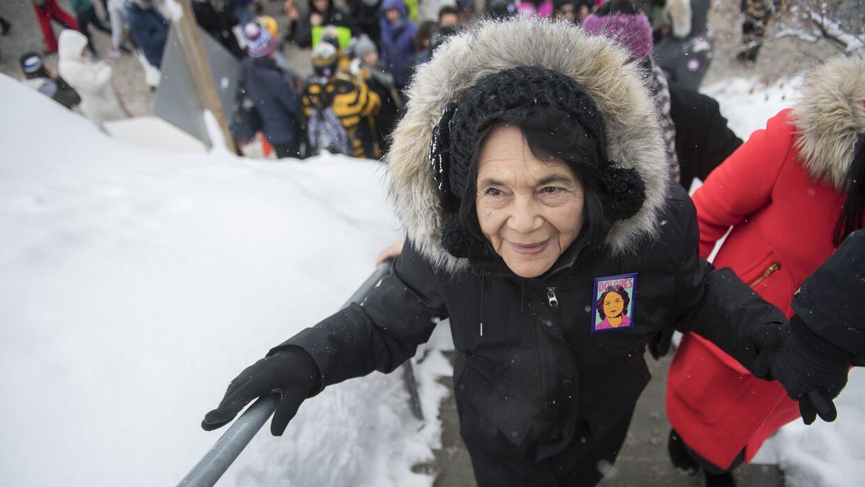 Huerta en la marcha de las mujeres, un día después de la toma de posesió...
