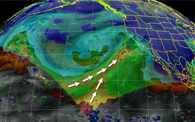 Un río atmosférico podría generar fuertes tormentas...