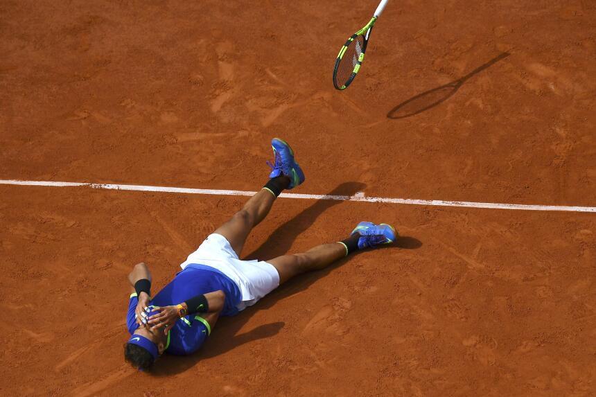La celebración de Rafael Nadal en su título de Roland Garros en 2017 Get...